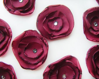 Red wine silk fabric flower applique decoration flowers x 10 sew on, glue on