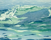woodblock print - wave in green and blue