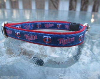 Minnesota Twins Cat  or Small Dog Collar with Option of Red or Pink Backing