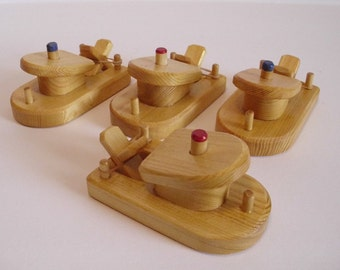 Paddle Boat Set of 4, Rubber Band Powered Wooden Bathtub Boat Toy, Handmade Wood Toy, Kids Easter gift, Waldorf inspired, Jacobs Wooden Toys