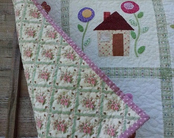 "Quilt hand made applique ""Secret Garden"""