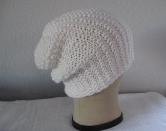 Slouchy Beanie in White. Hand Knit Extra Fine Merino Wool Hat. Accessories.