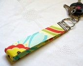 Wristlet Key Fob Heather Bailey Fabric Key Fob Keyring Pop Daisy Yellow Blue Green Red Floral Fabric Handmade
