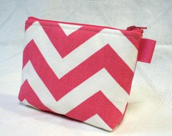 Chevron Cosmetic Bag Makeup Bag Gadget Bag Zipper Pouch Zig Zag Hot Pink White Handmade MTO
