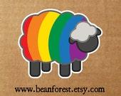 rainbow sheep - lgbt sticker lgbt bumper sticker gay pride flag lgbtq die cut vinyl sticker lesbian pride queer sticker queer pride gift