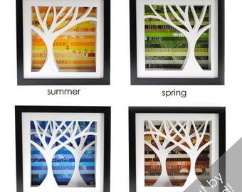 four seasons trees- four different shadowboxes made from recycled magazines, handcut, winter, spring, summer, fall