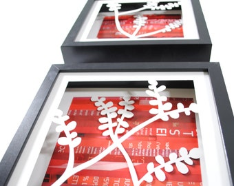 set of 3 cherry blossoms- shadowbox made from recycled magazines, spring, nature, red, trio