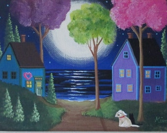 Misty Moon Folk Art Print