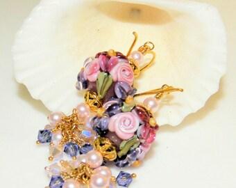 Handmade Lampwork beads,Vermeil Gold and Swarovski Crystal and pearl  Earrings