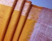 Saffron sari, saree, woven, mushroom, silver studs, hippie fabric, Indian sari, gypsy decor, festival clothing