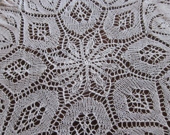 KNITTED lace doily 1960s, vintage table topper, hand made lace, knitted lace, 1950s decor