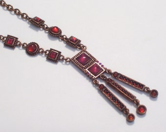 Vintage Art Deco Style Coppertone Faux Garnet and Rhinestone Pendant Necklace, Copper Plated Chain