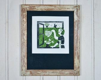 Lino print 'Spring Clean'