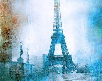Paris Photographs, Eiffel Tower Blue Abstract Print, Paris Blue Impressionistic Wall Art, Paris Eiffel Tower Blue Abstract Wall Decor Prints