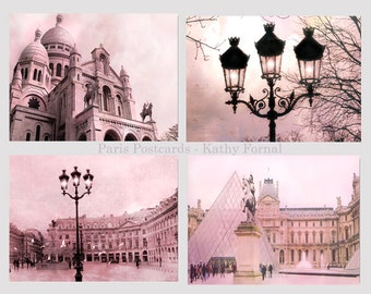 Paris Photography, Pink Paris Prints, Paris Note Cards, Paris Landmarks, Louvre, Paris Street Lamps, Sacre Coeur Cathedral, Place Vendome