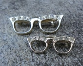 Two Silver and Rhinestone CATEYE Glasses Brooches