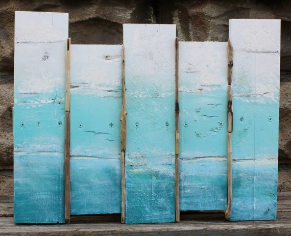 Wall Art Beach House : Ombre sea scape original plank painting wall art for the beach
