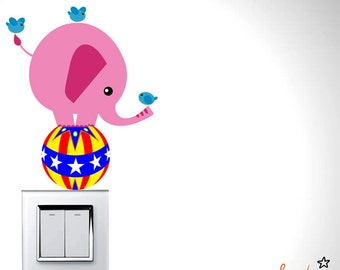 Cute Balancing Pink Elephant & Birds Wall Decal (Series - 03)