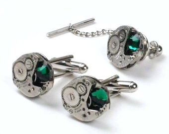 Vintage Watch Movement n Emerald Crystal Steampunk Cuff Links and Tie Tack Set