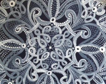Lace painted plate
