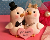 White Love Bird Cake Topper Keepsake with Personalized Heart