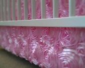 baby bedding crib skirt in light pink ROSETTES and minky blanket only
