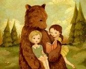 The Storybook Bear Print 8x10 - Nursery Art, Children's Art, Book, Reading, Forest, Cute, Girl, Peppermint, Buttercup Yellow, Peach Pink