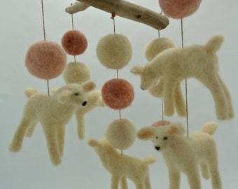Crib Mobile, A-Symetrical Lamb Mobile, Pinks and Cream