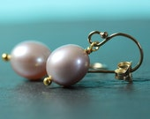 Pearl Earrings, Simple Drop Natural color freshwater pearls, Light Lavender, Gold filled French Hooks, gift for her, Free shipping in Canada