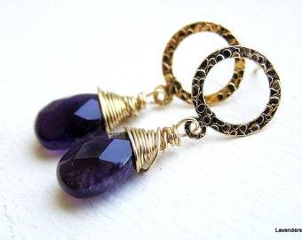 Amethyst Earrings , Gold Gemstone Dangle Post Earrings , Circle Studs , Gold Post Earrings , February Birthstone , Gift for Her