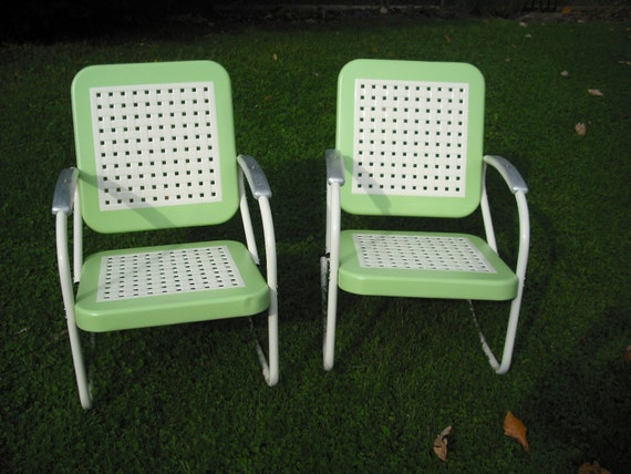 Unavailable listing on etsy for 1950s metal patio chairs