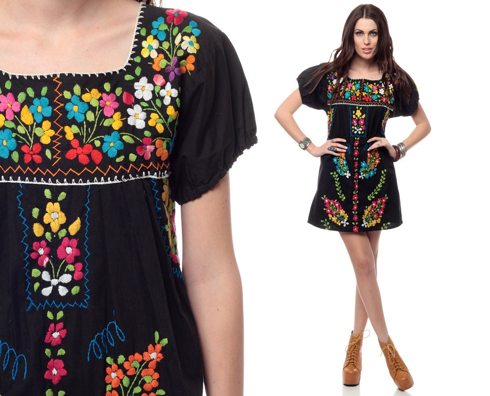 Simple Home  Clothing  Dresses  Navy Blue Mexican Embroidered Dress