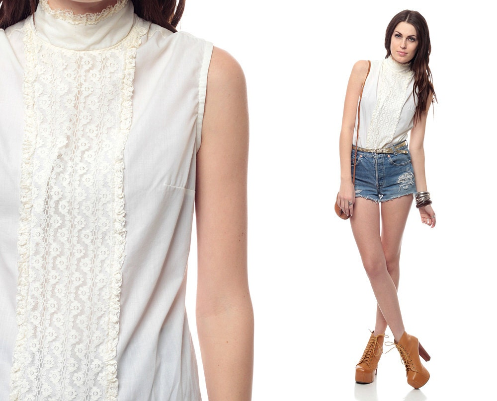 White Lace High Neck Blouse 68