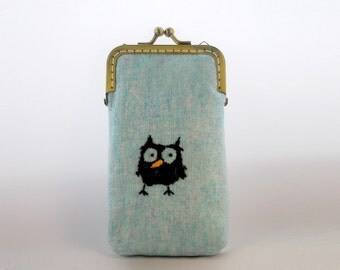 iPhone Case iPhone sleeve gadget case/Glasses Case - Embroidery Owl  ( iPhone 7, iPhone 7 Plus, Samsung Galaxy S7 etc. )
