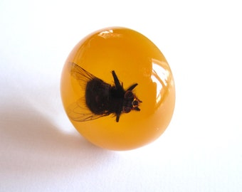 Big black Fly - Resin ring - Size M