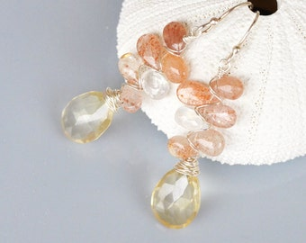 Sunstone Citrine Earrings Sterling Silver Wire Wrapped, Rainbow Moonstone Briolette, faceted pear, orange and golden