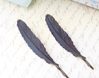 Black Enamel Feather Hair Bobby Pins - Woodland Collection - Whimsy - Bridal