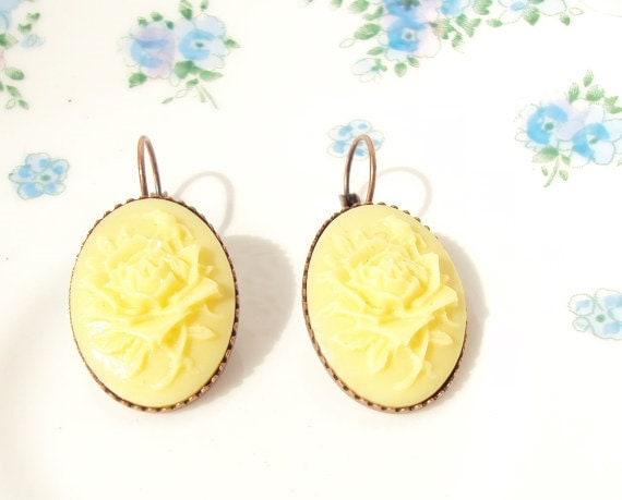 50% OFF - Melts Like Lemon Drops - Vintage Yellow Rose Earrings