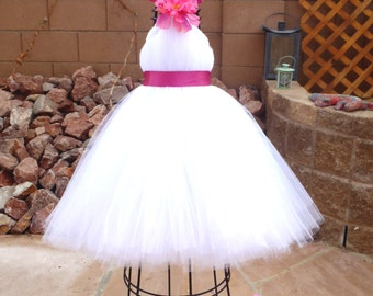 Tutu Dress, Flower Girl Dress, White Tulle, Fuchsia Ribbon, Hot Pink Flower, Fabric Flower, Portrait Dress, Wedding Flower Girl Dress