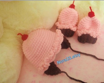 crochet cupcake hat and mittens (thumbless)  strawberry pink .sale many sizes.