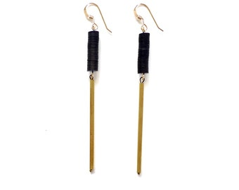 Pillar earrings - Vintage sequin and hand cut brass bars