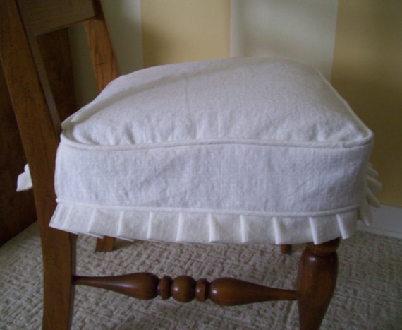 Dining Chair Seat Slipcover White Linen And Knife Pleats