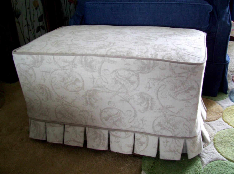 Ottoman Slipcover Linen Damask Boxed Pleat By Applecatdesigns