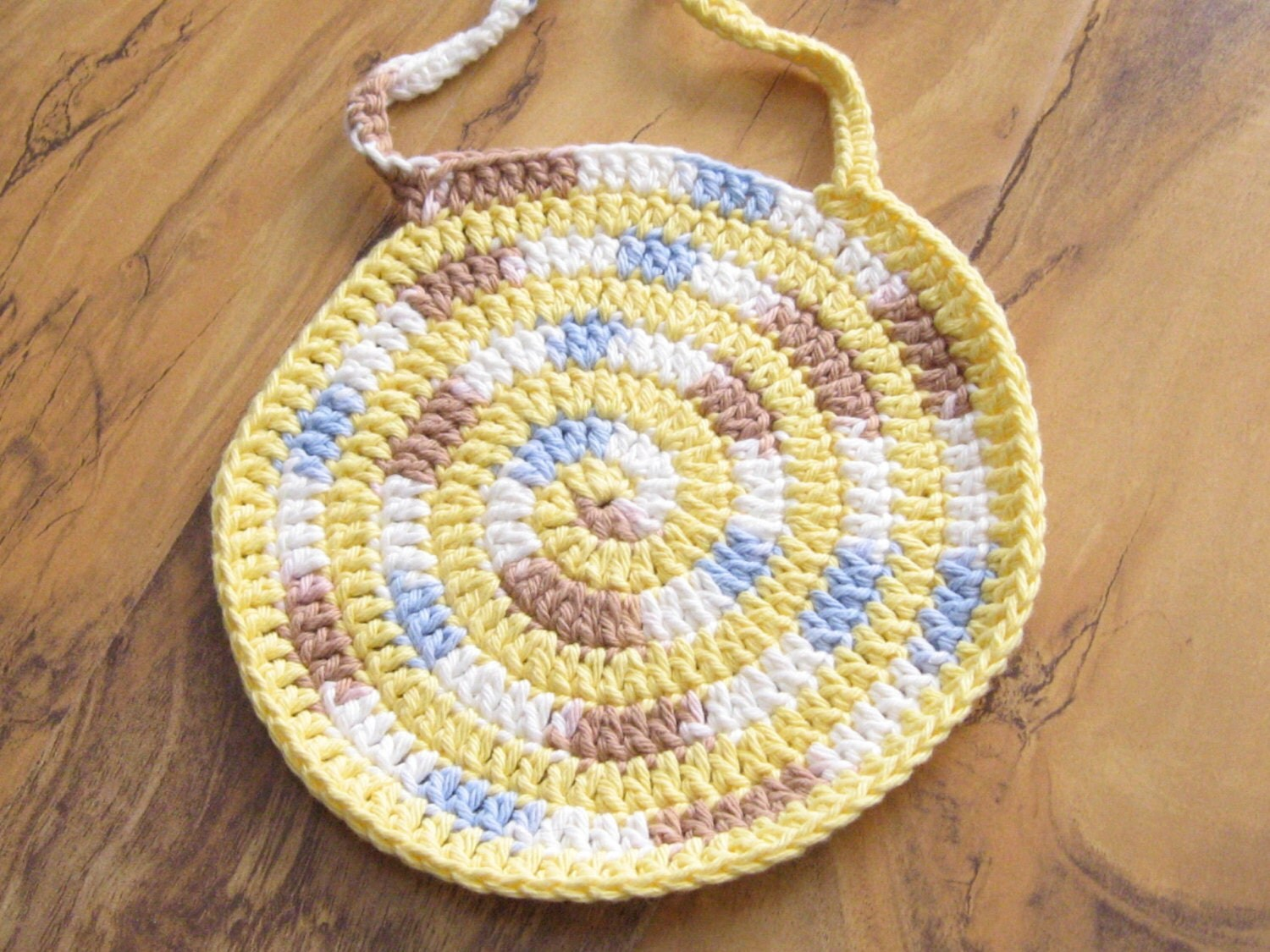 Handmade Crochet Cotton Baby Bib Swirly Yellow Brown and Blue