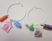 Vintage Plastic Charm Hoop Earrings DEADSTOCK