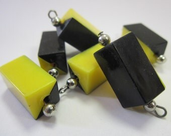 Original Vintage 1960s Two Tone Plastic Go Go Black and Yellow Bead with Loop Lot of 6 pcs