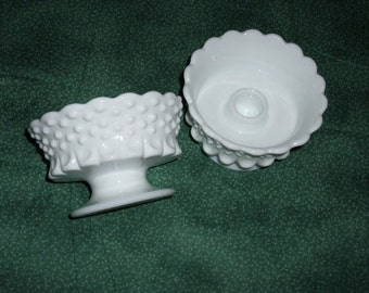 Pair of Fenton Milkglass Hobnail Thumbprint Candle Holders, Mint Condition, 1960s
