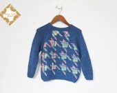 Kids sweater / childrens jumper / Handmade knit wool sweater / boys and girls houndstooth sweater / 4-5 years / unisex / applique