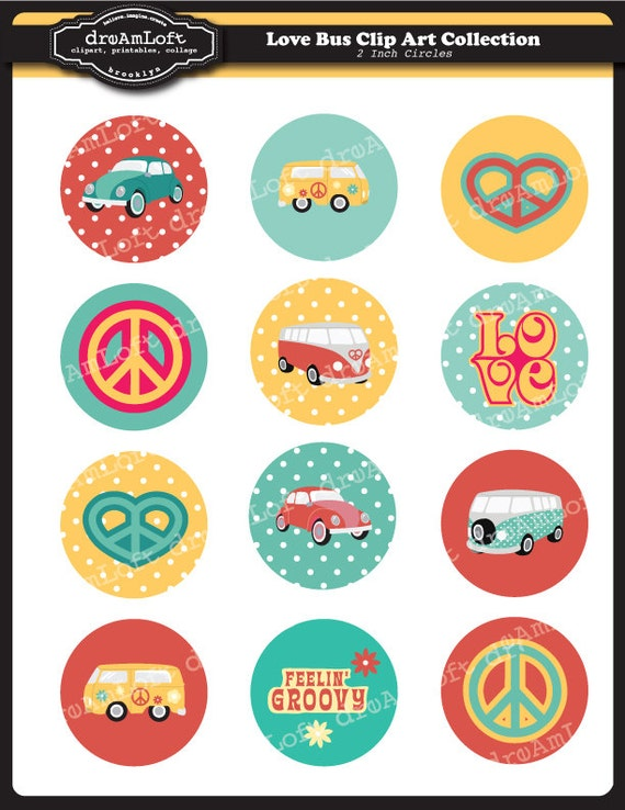 Love Bus 2 inch Round Printable Circles for stickers, cupcake toppers, cards, stationary, invitations, scrapbooking and all paper crafts