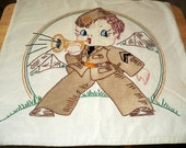 Bugle Boy  Hand Made Pillow Case made during WW II   HAFAIR